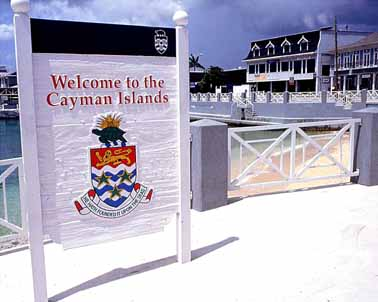 Cayman Island Sign Welcoming Visitors